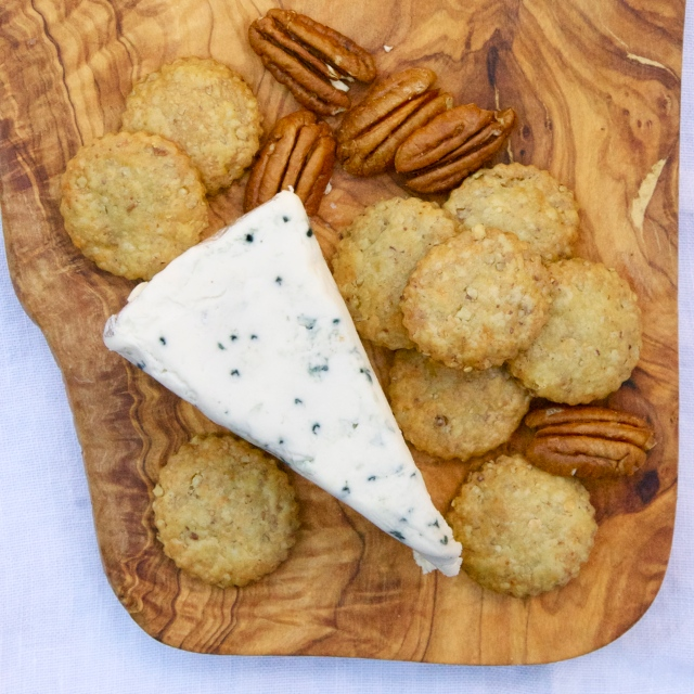 savory pecan blue cheese crackers
